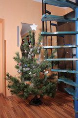 Christmas  tree in room with stairs with  decorations