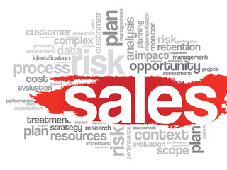 Word Cloud with Sales related tags, vector business concept