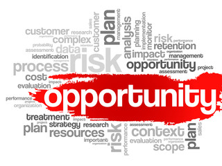 Opportunity and success concept in word tag cloud, vector