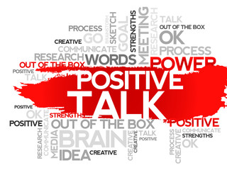 POSITIVE TALK. Word business collage, vector background