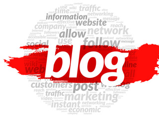 Blog and social media concept in word tag cloud