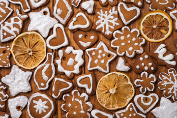 Cookies made by hand in the form of Christmas ornaments. Top vie