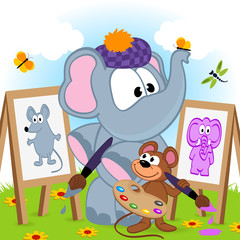 elephant and mouse draw portraits - vector illustration, eps