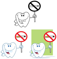 Tooth Cartoon Mascot Character 3. Collection Set