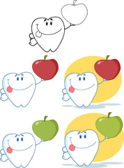 Tooth Cartoon Mascot Character 8. Collection Set
