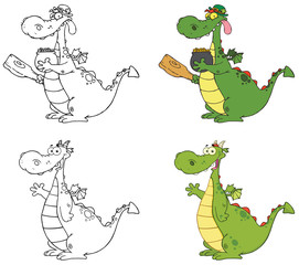 Dragon Cartoon Character. Collection Set