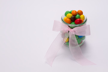 multi-colored candy in glass