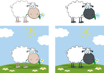 White And Black Sheep Character Eating A Flower. Collection Set