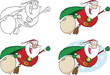 Super Hero Santa Fly. Collection Set