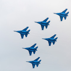Military jet planes showing aerobatics