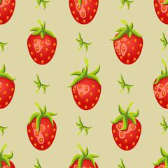 Illustration Strawberries Seamless Background