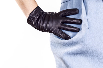 Gloves woman with white background