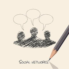 drawing pencil scheme of  social networks communication people