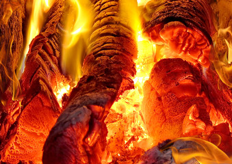 Burning wood is birch in the fireplace with stove.