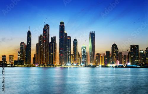 Dubai marina during twilight