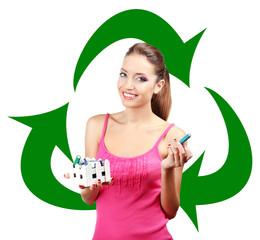 Recycle concept, beautiful young woman holding batteries