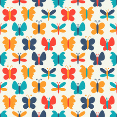 Retro seamless vector pattern of colorful butterfly silhouettes