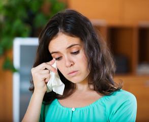 crying woman  at  home