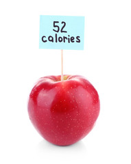Red apple with calories count label isolated on white
