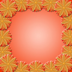 frame from brown flowers on red background