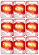 Set of winter price tags with percentage discount
