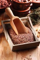 lenticchie crude nella cassetta di legno