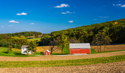 View of a farm and rolling hills in rural York County, Pennsylva
