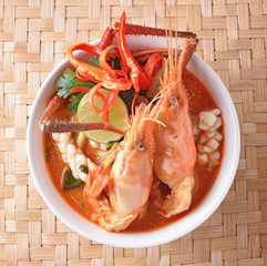Tom Yum seafood soup or spicy tom yum seafood soup ,Thai food