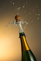 explosion of champagne bottle