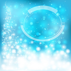 Blue festive Christmas background with snowflakes and sparkling