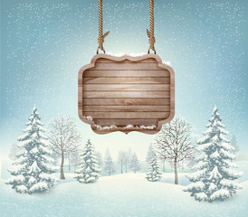 Winter landscape with a wooden ornate Merry christmas sign. Vect