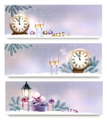 Three Christmas, New Year banners with gift boxes, lanterns and