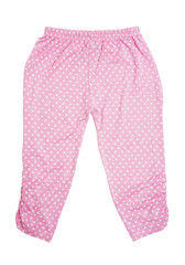 children's pink pants with heart pattern on white background