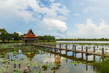 Thai wooden temple architecture on Park NongKhulu in UbonRatchat