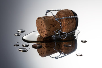 champagne cork with puddle