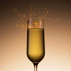 champagne glass with sparkler