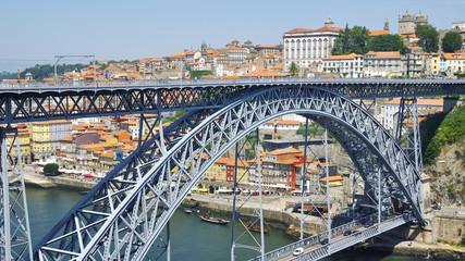 Arch metallic bridge over Douro River in Porto
