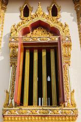 Thai art windows in temple of thailand
