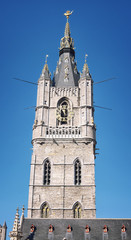 Belfry of Ghent, Belgium. Close view