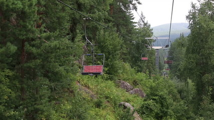 Ski chairlift on Mount Tserkovka in Belokurikha. Altai Krai.