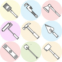 Stylish vector icons for woodwork tools