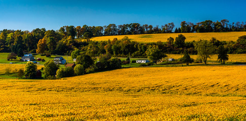 View of farm fields and  hills in rural York County, Pennsylvani