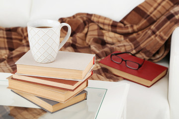 Tabletop with pile of books, cup and glasses near the sofa with