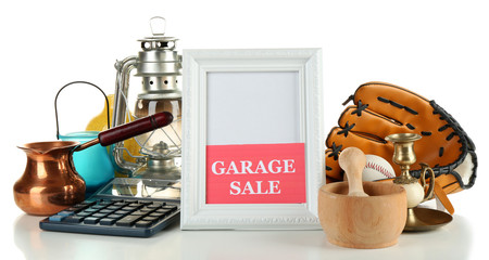 Unwanted things ready for a garage sale, isolated on white