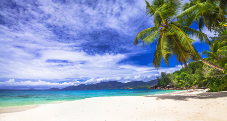 scenic panorama one of the beautiful beaches in Seychelles