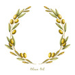 Watercolor olive branch wreath - 75112575