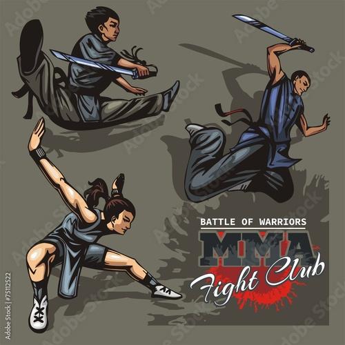 Fototapeta Monks of Shaolin - color vector stock illustration.