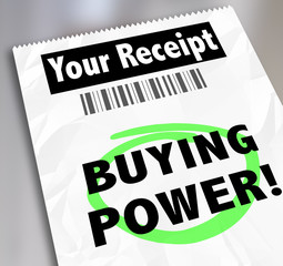 Buying Power Words Paper Receipt Purchase Shopping Saving Money