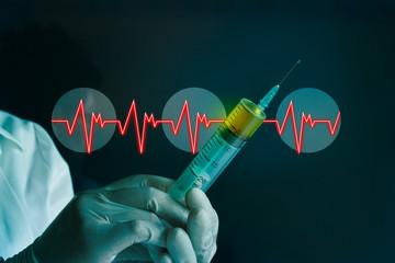 syringe in hand glove of a Cardiac Frequency