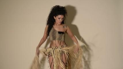 Beautiful primitive samba dancer wearing typical costume